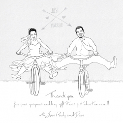 Wedding Gift Caricatures and Wedding Guest Book Ideas | Couple On A Bicycles | Caricature Your Photo | Online Caricatures | Personalized Caricature