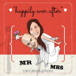 Wedding Gift Caricatures and Wedding Invitation Caricature | Happily Ever After | Caricature Your Photo | Online Caricatures | Personalized Caricature