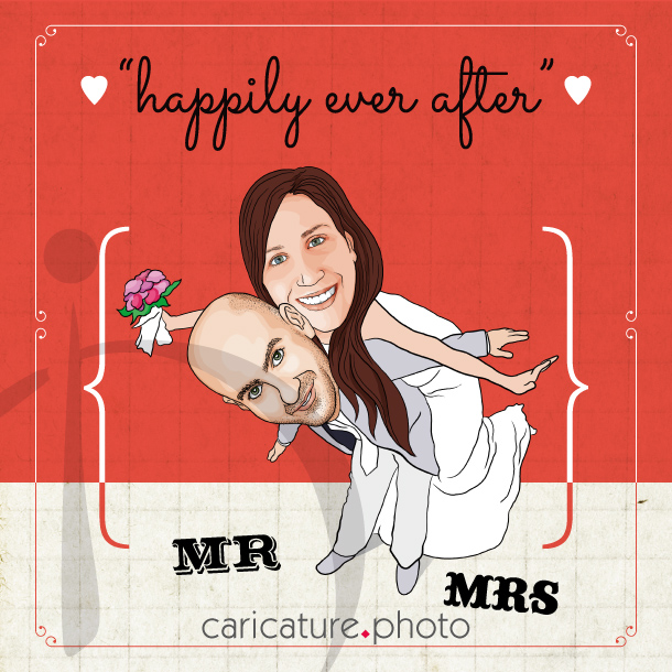 Wedding Gift Caricatures and Wedding Invitation Caricature | Happily Ever After | Caricature Your Photo |