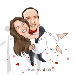 Wedding Gift Caricatures | Wedding Guest Book Caricature | Married Couple | Caricature Photo | Wedding Online Caricatures | Couple Online Caricatures