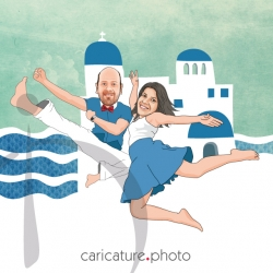 Santorini Jumping Wedding Caricature | Santorini Jumping Wedding | Caricature Photo | Online Wedding Caricatures | Santorini Wedding Caricatures | Santorini Caricatures