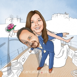 Wedding Gift Caricatures | Wedding Guest Book Caricature | Wedding on a boat Caricature from Photo | Wedding Online Caricatures | Couple Online Caricatures