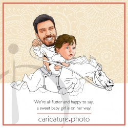 Baptism Announcement Caricature | Invitation Caricature | Birth Announcement Caricature | A Baby Girl is on Her Way Caricature | Kid Caricatures