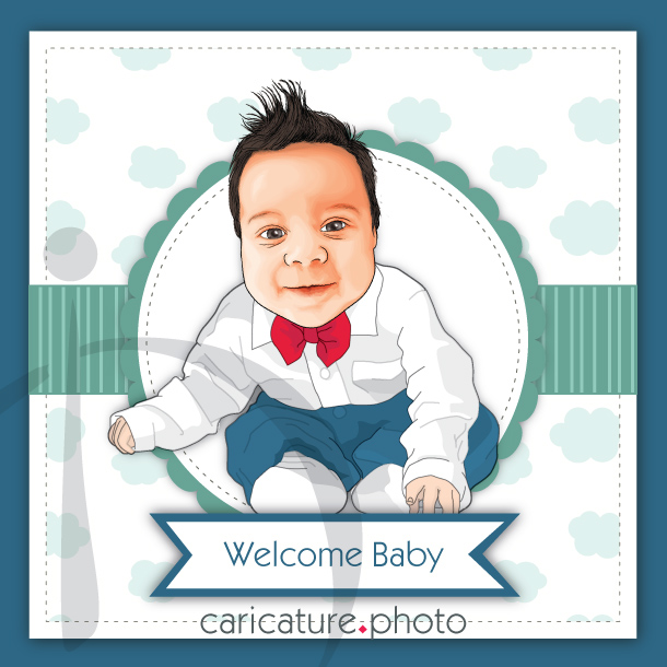 Baby Caricature Invitation | Invitation Caricature | Baby Caricature gifts | Welcome Baby Caricature from Photo | Kid Caricatures