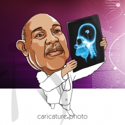 Corporate Caricatures, Business Gift Caricatures | Homer Brain X-Ray | Caricature Your Photo | Online Caricatures | Personalized Caricature