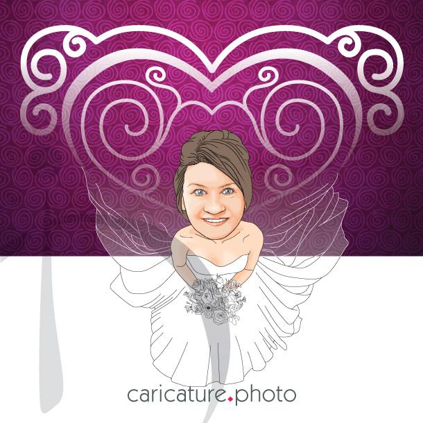 Wedding Online Caricatures | Heart Wedding Dresses | Caricature Your Photo | Online Caricatures | Wedding Caricatures