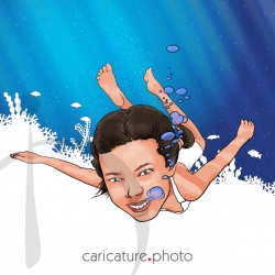 Sports Caricatures, Hobbies Caricatures from Photos | Underwater Girl | Caricature Your Photo | Online Caricatures | Personalized Caricature